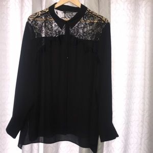 Black blouse with lace embellishments